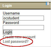 """Lost Password"" link in the Login block on the right side of the home screen."